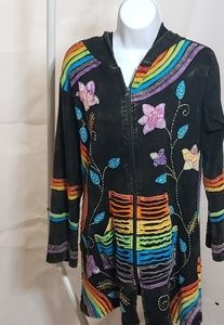 multi colored hooded cotton jacket